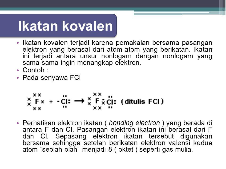 Ikatan kovalen terjadi karena pemakaian bersama pasangan elektron yang berasal dari atom-atom yang berikatan.
