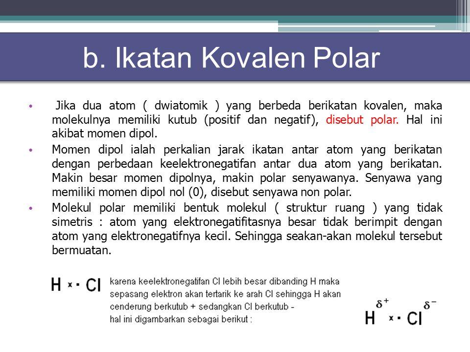 Jika dua atom ( dwiatomik ) yang berbeda berikatan kovalen, maka molekulnya memiliki kutub (positif dan negatif), disebut polar.
