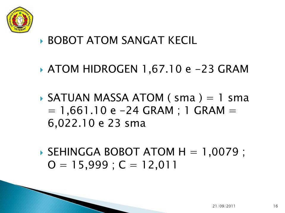  BOBOT ATOM SANGAT KECIL  ATOM HIDROGEN 1,67.10 e -23 GRAM  SATUAN MASSA ATOM ( sma ) = 1 sma = 1,661.10 e -24 GRAM ; 1 GRAM = 6,022.10 e 23 sma  SEHINGGA BOBOT ATOM H = 1,0079 ; O = 15,999 ; C = 12,011 21/09/2011 16
