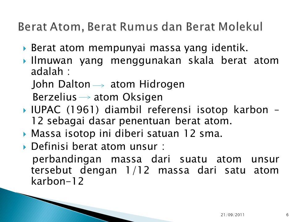  Berat atom mempunyai massa yang identik.