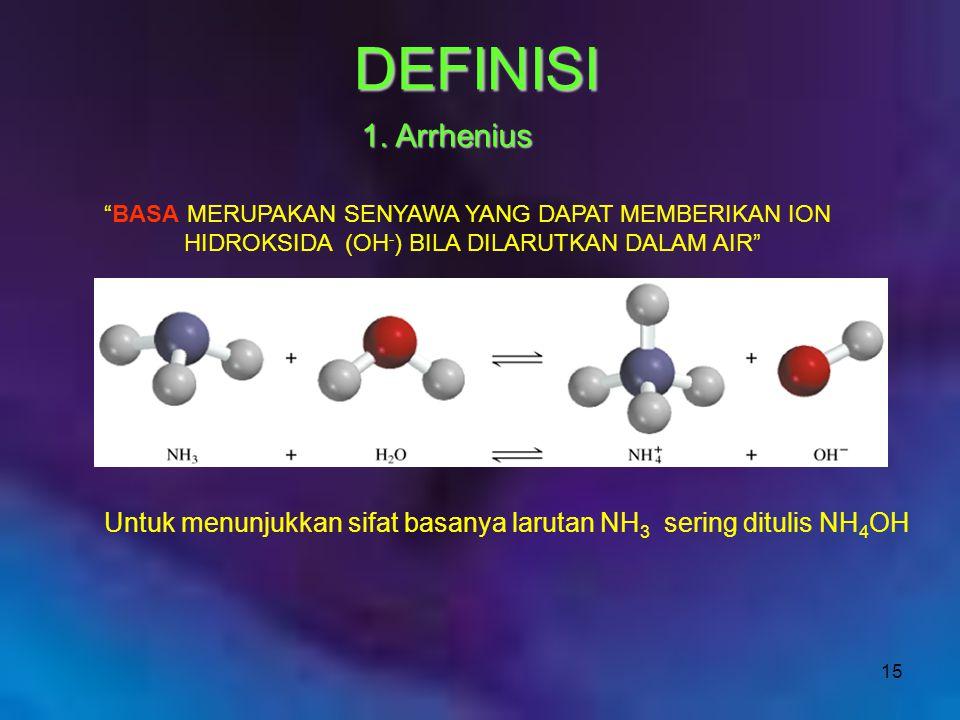 "15 ""BASA MERUPAKAN SENYAWA YANG DAPAT MEMBERIKAN ION HIDROKSIDA (OH - ) BILA DILARUTKAN DALAM AIR"" Untuk menunjukkan sifat basanya larutan NH 3 sering"