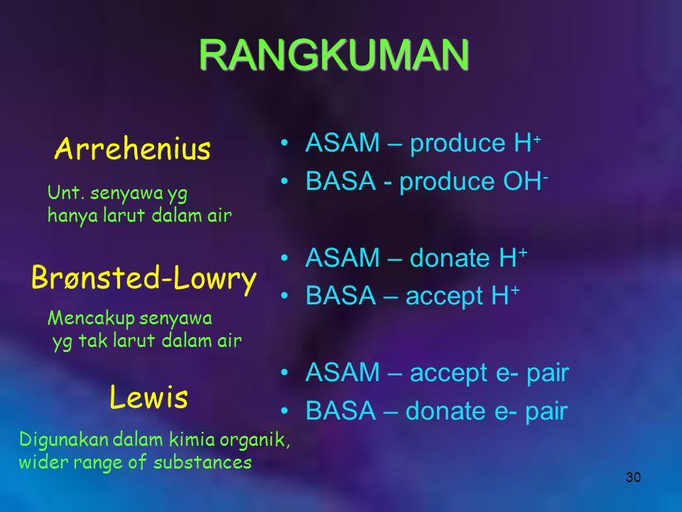 30 ASAM – produce H + BASA - produce OH - ASAM – donate H + BASA – accept H + ASAM – accept e- pair BASA – donate e- pair Arrehenius Brønsted-Lowry Le