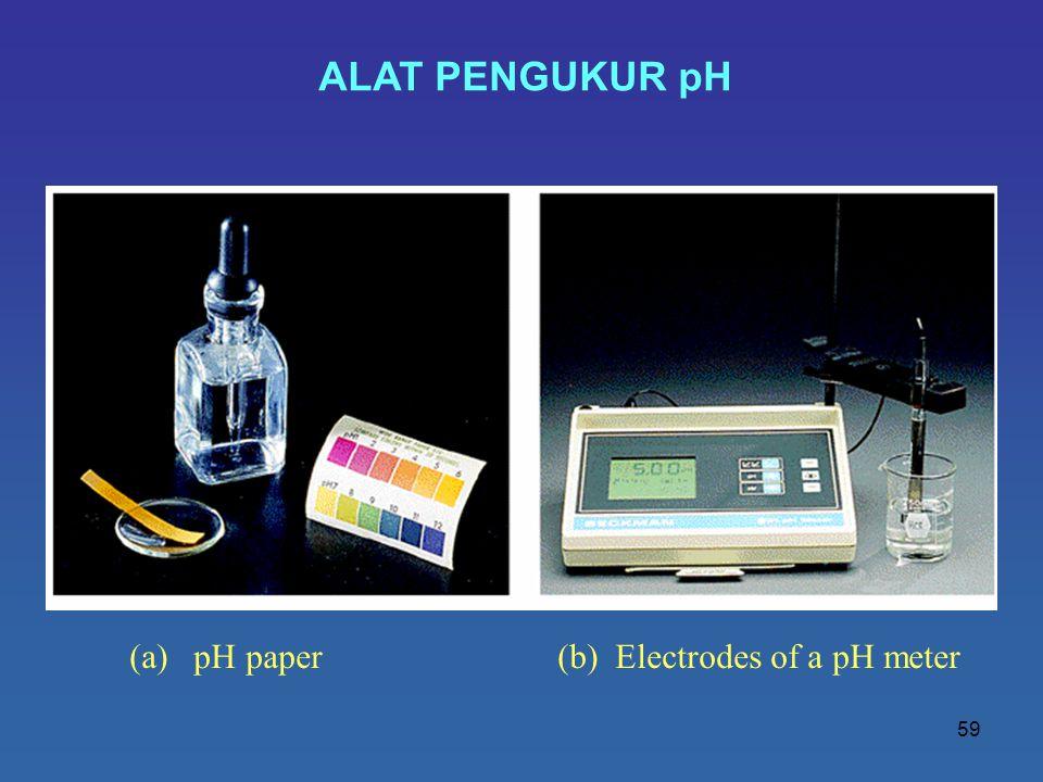59 ALAT PENGUKUR pH (a) pH paper (b) Electrodes of a pH meter