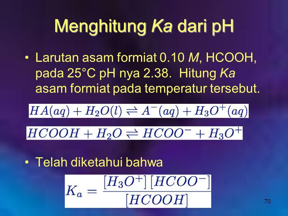 70 Menghitung Ka dari pH Larutan asam formiat 0.10 M, HCOOH, pada 25°C pH nya 2.38. Hitung Ka asam formiat pada temperatur tersebut. Telah diketahui b