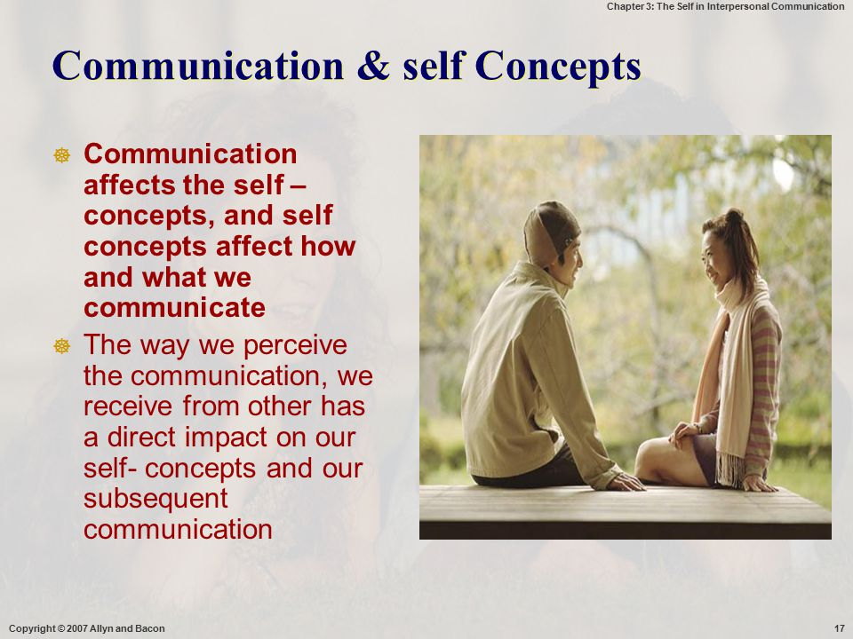 Chapter 3: The Self in Interpersonal Communication Copyright © 2007 Allyn and Bacon17 Communication & self Concepts  Communication affects the self –