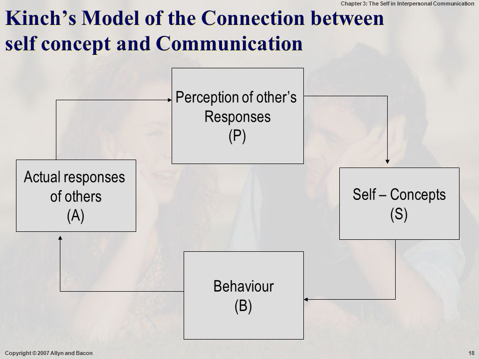 Chapter 3: The Self in Interpersonal Communication Copyright © 2007 Allyn and Bacon18 Perception of other's Responses (P) Self – Concepts (S) Behaviou