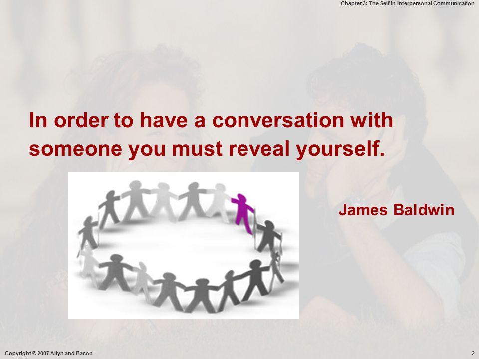 Chapter 3: The Self in Interpersonal Communication Deskripsi  Komponen penting tindak komunikasi adalah self ( siapa kita, bagaimana kita mempersepsi diri sendiri dan orang lain) --  mempengaruhi komunikasi & tanggapan kita terhadap komunikasi  Kesadaran diri merupakan landasan bagi semua bentuk dan fungsi komunikasi  Self -- > konstruk sosial -  kita mengenal diri sendiri melalui interaksi dengan orang lain  konsep diri : apa yg kita percayai dalam dlm diri kita -  memberi pengaruh yg kuat kepada pesan apa kita bersedia membuka diri, bagaimana mempersepsi pesan, apa yg kita ingat.
