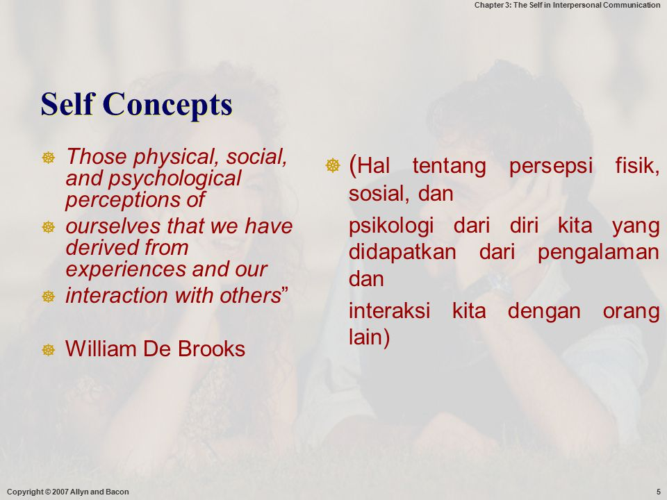 Chapter 3: The Self in Interpersonal Communication Copyright © 2007 Allyn and Bacon6 Strong self - concepts  They can describe numerious skills,abilities,knowledge, compentencies, and personality character  They think positively about themselves