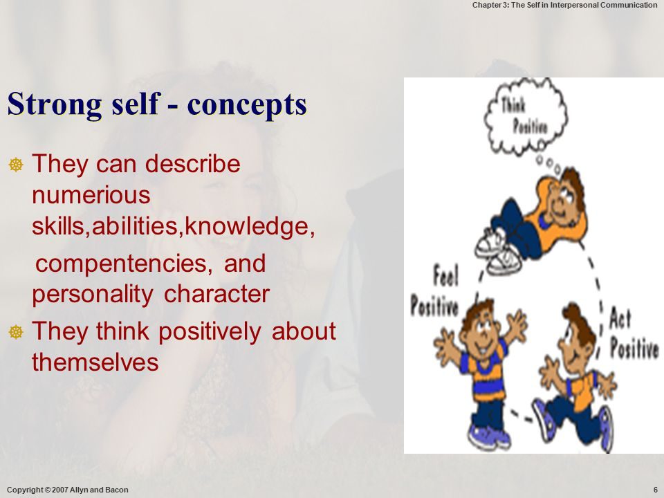 Chapter 3: The Self in Interpersonal Communication Copyright © 2007 Allyn and Bacon37 Self-Disclosure Communicating Information About…  Your Values, Beliefs, and Desires  Your Behavior  Your Self-Qualities or Characteristics