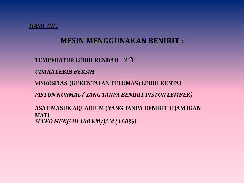 HASIL UJI : MESIN MENGGUNAKAN BENIRIT : TEMPERATUR LEBIH RENDAH 2 F UDARA LEBIH BERSIH VISKOSITAS (KEKENTALAN PELUMAS) LEBIH KENTAL PISTON NORMAL ( YANG TANPA BENIRIT PISTON LEMBEK) ASAP MASUK AQUARIUM (YANG TANPA BENIRIT 8 JAM IKAN MATI SPEED MENJADI 108 KM/JAM (168%)