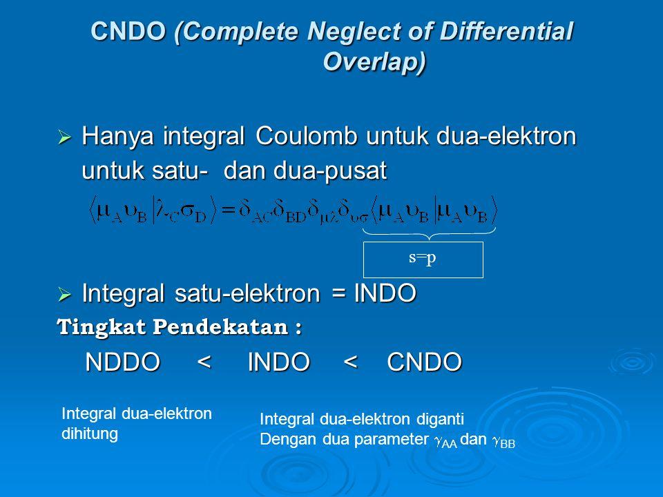 CNDO (Complete Neglect of Differential Overlap)  Hanya integral Coulomb untuk dua-elektron untuk satu- dan dua-pusat  Integral satu-elektron = INDO Tingkat Pendekatan : NDDO < INDO < CNDO NDDO < INDO < CNDO s=p Integral dua-elektron dihitung Integral dua-elektron diganti Dengan dua parameter  AA dan  BB