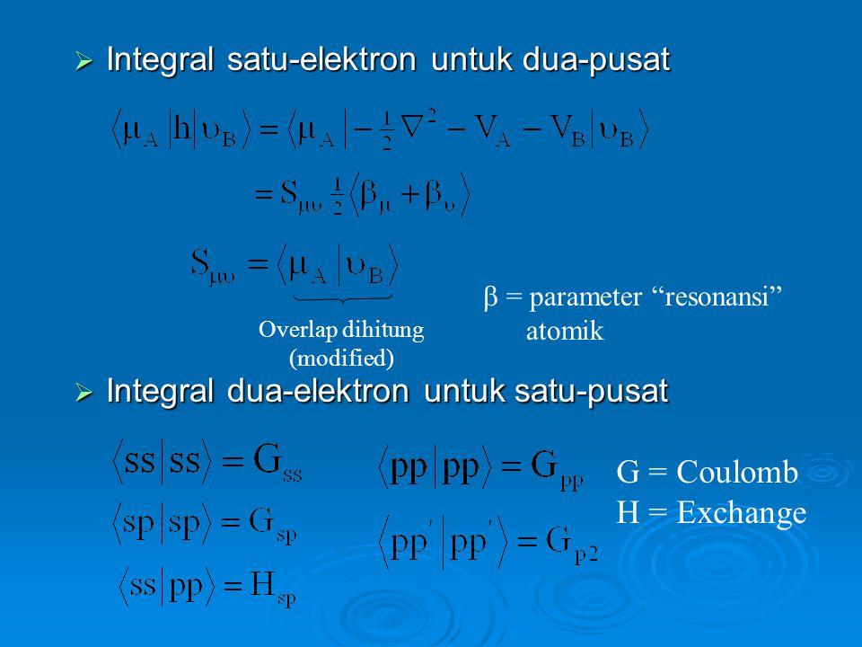 Integral satu-elektron untuk dua-pusat  Integral dua-elektron untuk satu-pusat Overlap dihitung (modified)  = parameter resonansi atomik G = Coulomb H = Exchange