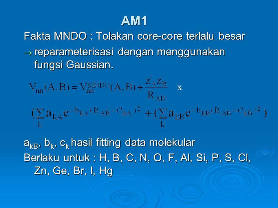 AM1 Fakta MNDO : Tolakan core-core terlalu besar  reparameterisasi dengan menggunakan fungsi Gaussian.