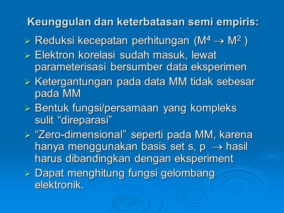 Keunggulan dan keterbatasan semi empiris:  Reduksi kecepatan perhitungan (M 4  M 2 )  Elektron korelasi sudah masuk, lewat parameterisasi bersumber data eksperimen  Ketergantungan pada data MM tidak sebesar pada MM  Bentuk fungsi/persamaan yang kompleks sulit direparasi  Zero-dimensional seperti pada MM, karena hanya menggunakan basis set s, p  hasil harus dibandingkan dengan eksperiment  Dapat menghitung fungsi gelombang elektronik.