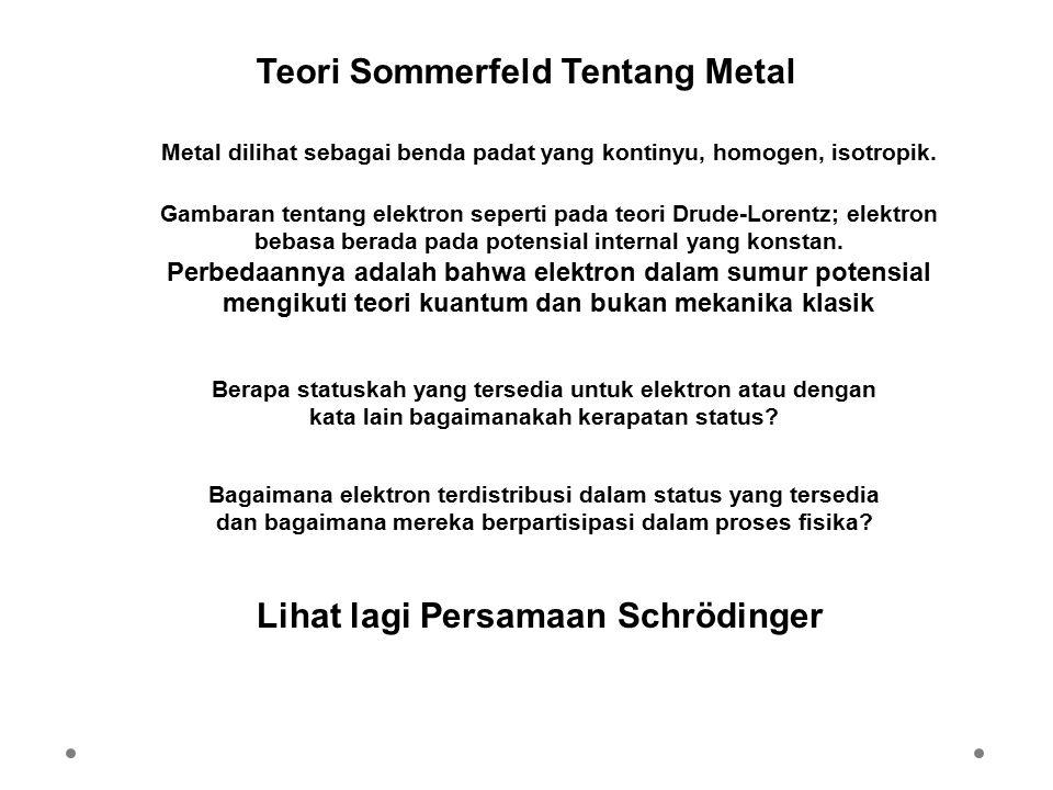 Teori Sommerfeld Tentang Metal Metal dilihat sebagai benda padat yang kontinyu, homogen, isotropik. Gambaran tentang elektron seperti pada teori Drude