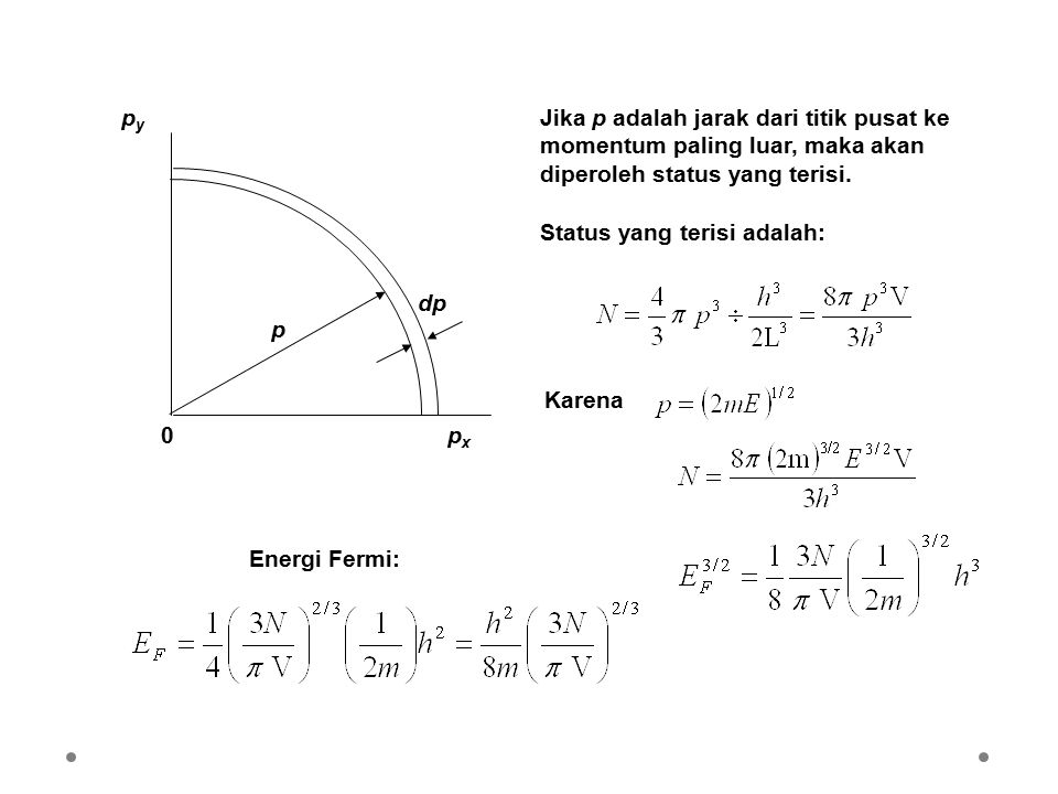 pxpx pypy 0 p dp Jika p adalah jarak dari titik pusat ke momentum paling luar, maka akan diperoleh status yang terisi. Status yang terisi adalah: Kare