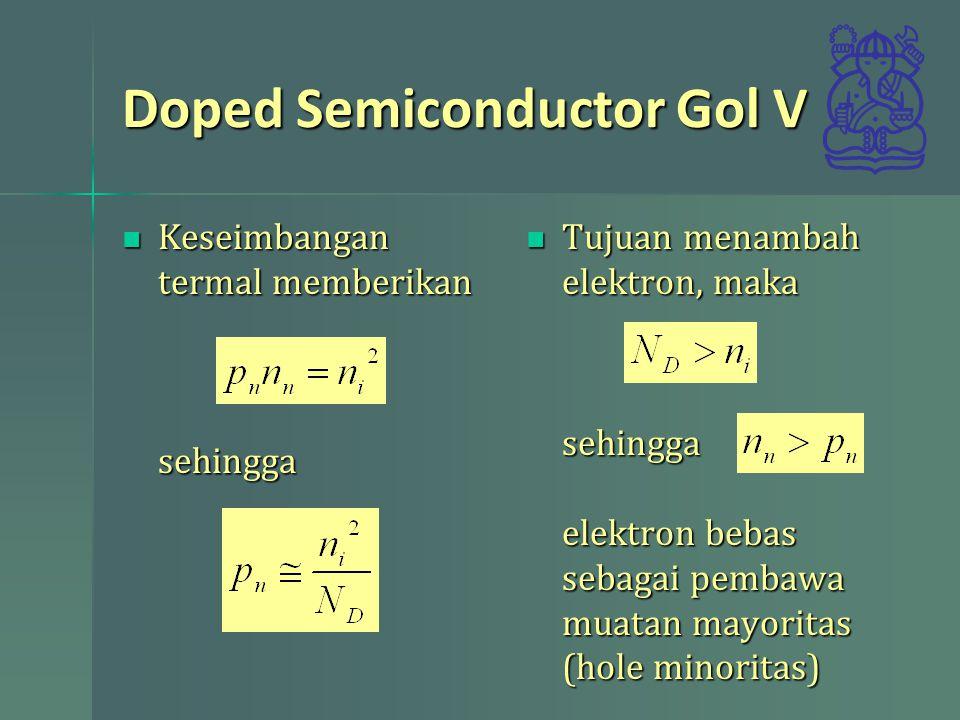 Doped Semiconductor Gol V Keseimbangan termal memberikan sehingga Keseimbangan termal memberikan sehingga Tujuan menambah elektron, maka Tujuan menamb