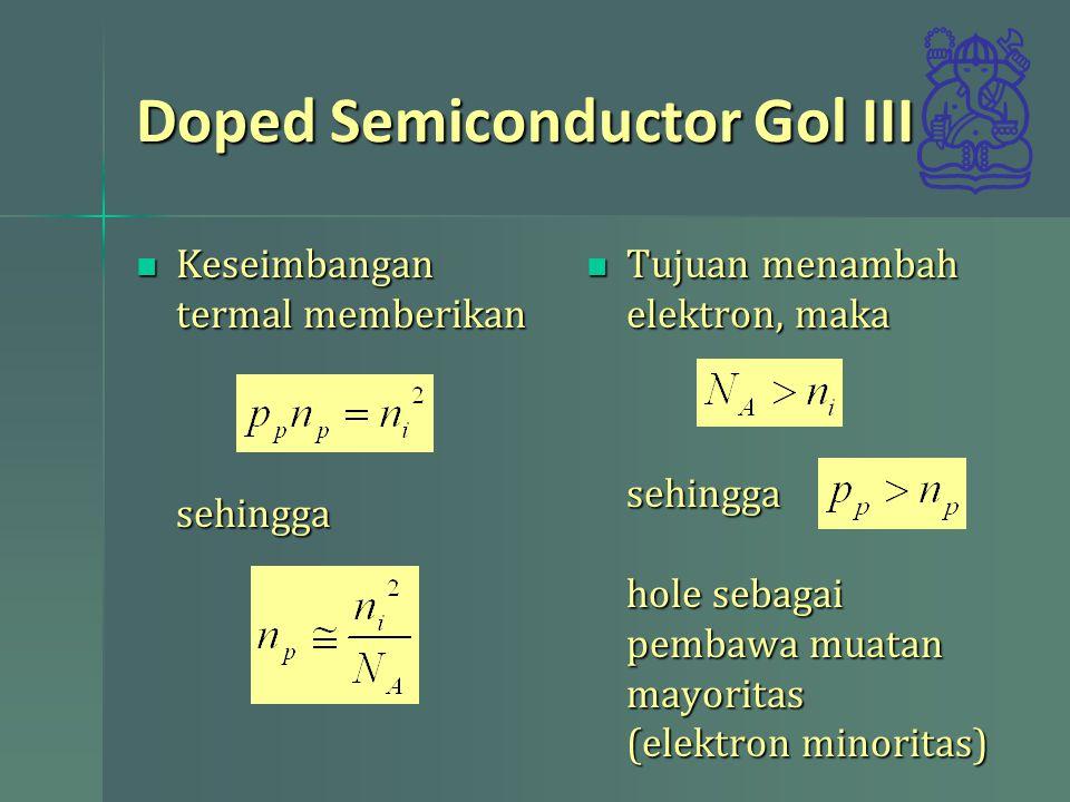 Doped Semiconductor Gol III Keseimbangan termal memberikan sehingga Keseimbangan termal memberikan sehingga Tujuan menambah elektron, maka Tujuan mena
