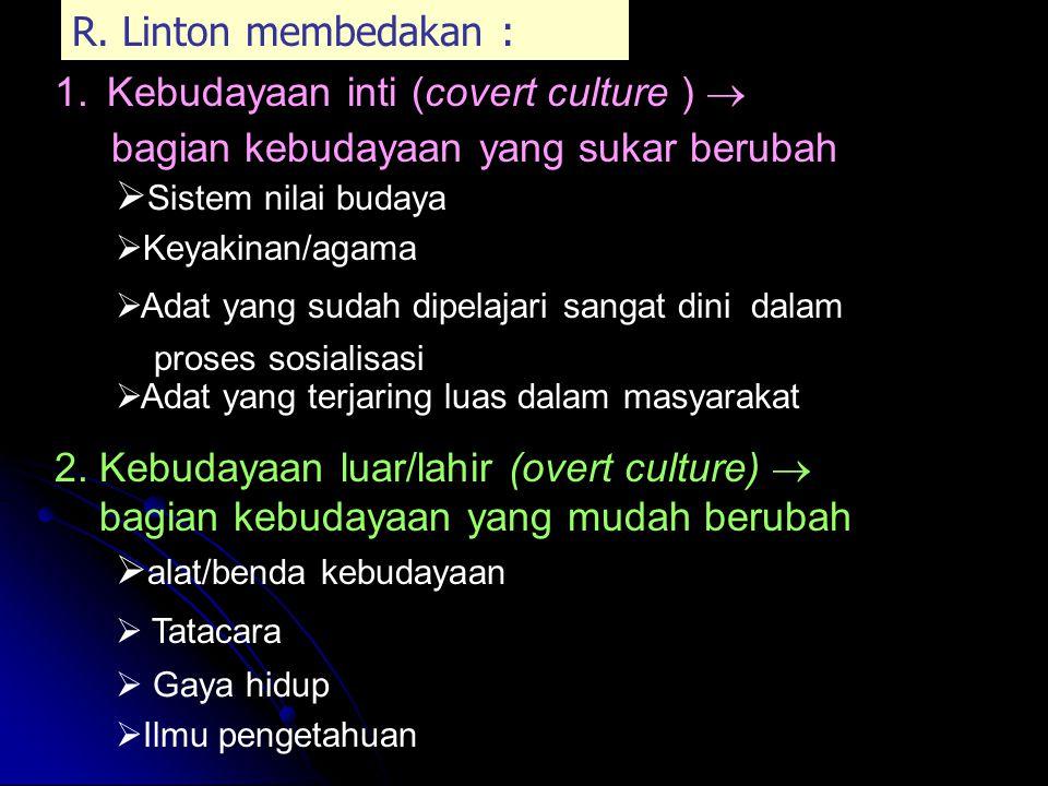 6. Kebudayaan merupakan suatu integrasi Masing-masing unsur dalam kebudayaan terintegrasi/terpadu menjadi satu kebudayaan