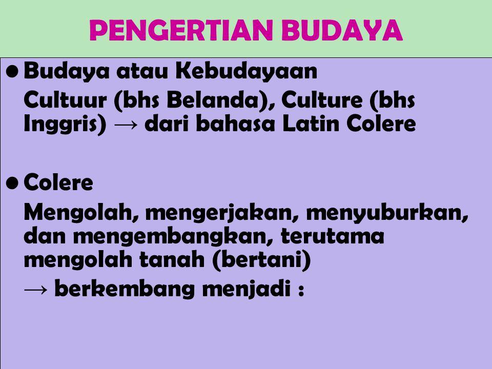 PENGERTIAN BUDAYA Budaya atau Kebudayaan Cultuur (bhs Belanda), Culture (bhs Inggris) → dari bahasa Latin Colere Colere Mengolah, mengerjakan, menyuburkan, dan mengembangkan, terutama mengolah tanah (bertani) → berkembang menjadi :