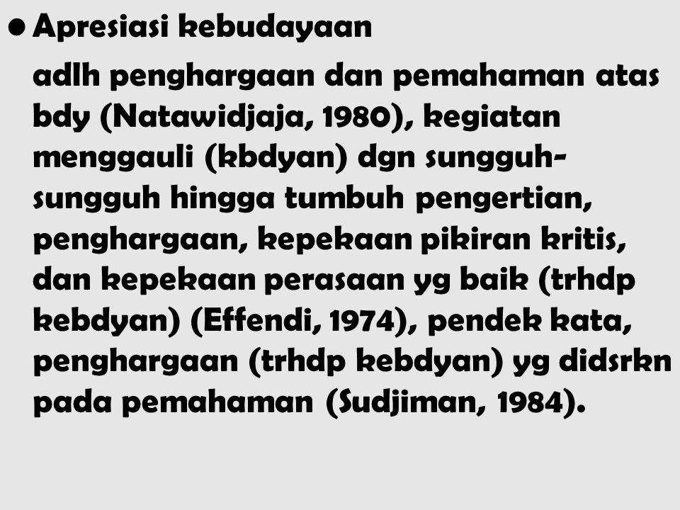 Apresiasi kebudayaan adlh penghargaan dan pemahaman atas bdy (Natawidjaja, 1980), kegiatan menggauli (kbdyan) dgn sungguh- sungguh hingga tumbuh penge