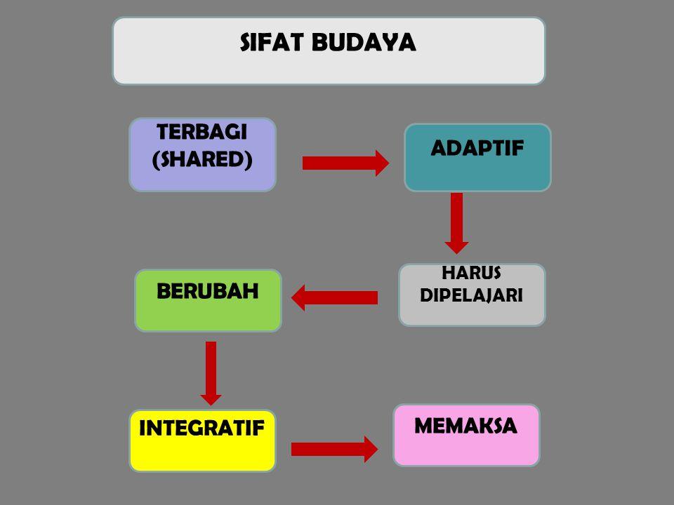 SIFAT BUDAYA TERBAGI (SHARED) INTEGRATIF BERUBAH MEMAKSA HARUS DIPELAJARI ADAPTIF