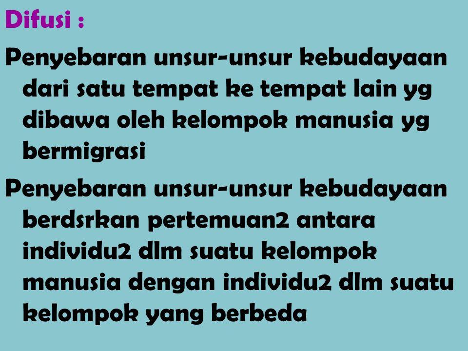 Difusi : Penyebaran unsur-unsur kebudayaan dari satu tempat ke tempat lain yg dibawa oleh kelompok manusia yg bermigrasi Penyebaran unsur-unsur kebuda
