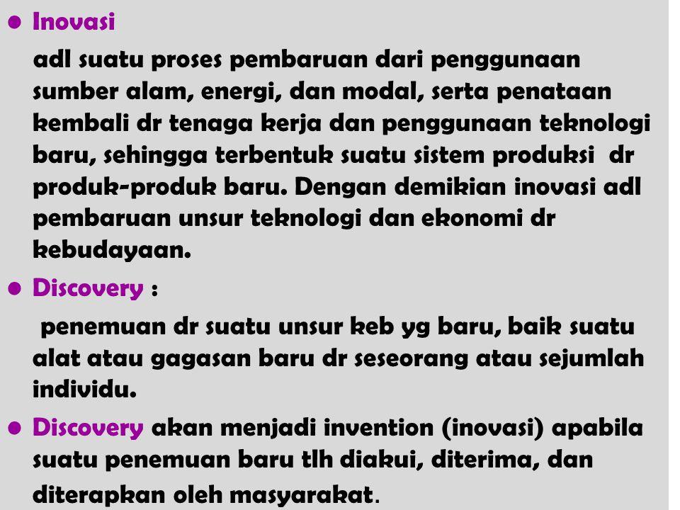 Inovasi adl suatu proses pembaruan dari penggunaan sumber alam, energi, dan modal, serta penataan kembali dr tenaga kerja dan penggunaan teknologi bar
