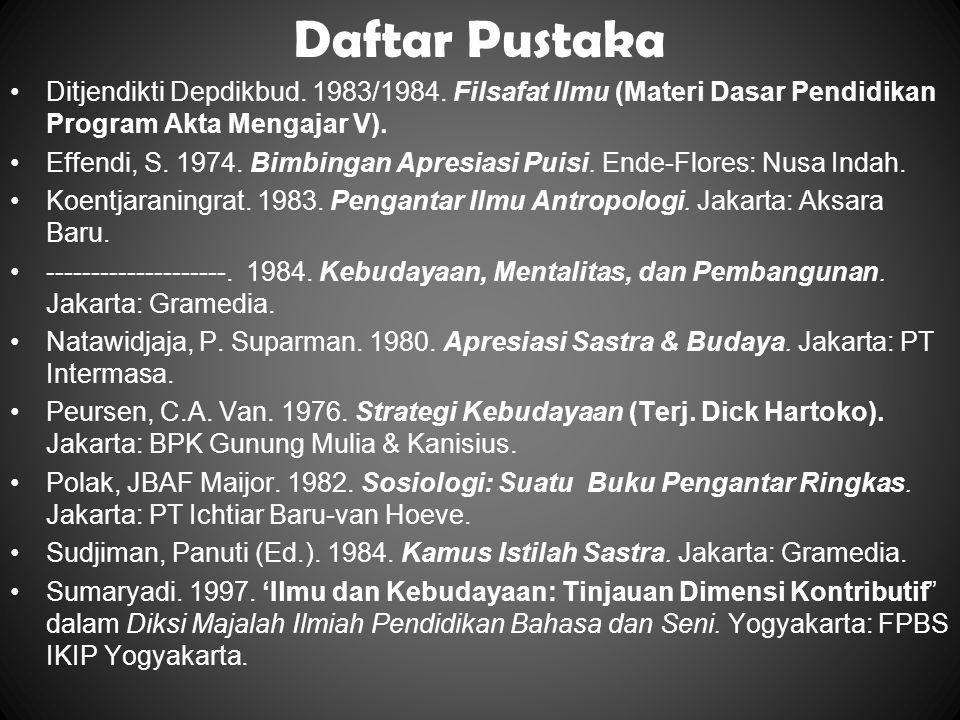 Daftar Pustaka Ditjendikti Depdikbud. 1983/1984. Filsafat Ilmu (Materi Dasar Pendidikan Program Akta Mengajar V). Effendi, S. 1974. Bimbingan Apresias