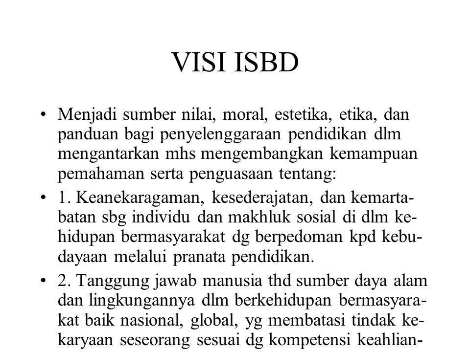 MISI ISBD Memberikan landasan pengetahuan dan wa- wasan luas serta keyakinan kpd mhs sebagai bekal hidup bermasyarakat selaku individu, makhluk sosial yg beradab, bertanggung ja- wab thd sumber daya alam dan lingkungan- nya.