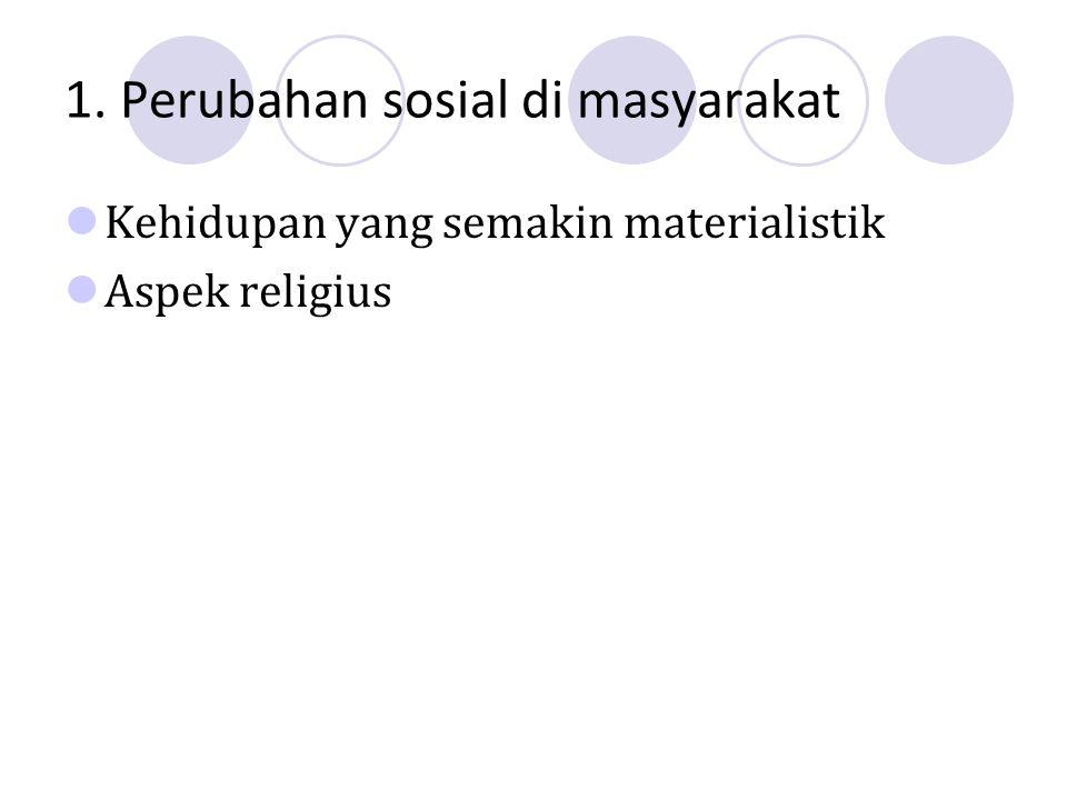 1. Perubahan sosial di masyarakat Kehidupan yang semakin materialistik Aspek religius