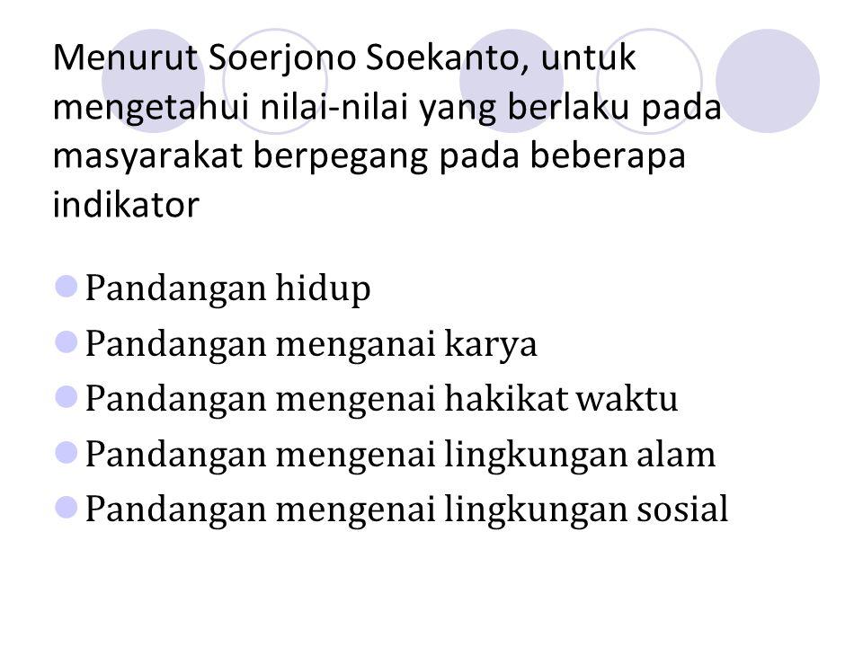 Menurut Soerjono Soekanto, untuk mengetahui nilai-nilai yang berlaku pada masyarakat berpegang pada beberapa indikator Pandangan hidup Pandangan menganai karya Pandangan mengenai hakikat waktu Pandangan mengenai lingkungan alam Pandangan mengenai lingkungan sosial