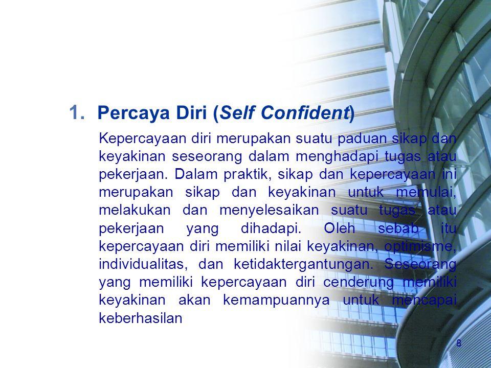 8 1. Percaya Diri (Self Confident) Kepercayaan diri merupakan suatu paduan sikap dan keyakinan seseorang dalam menghadapi tugas atau pekerjaan. Dalam