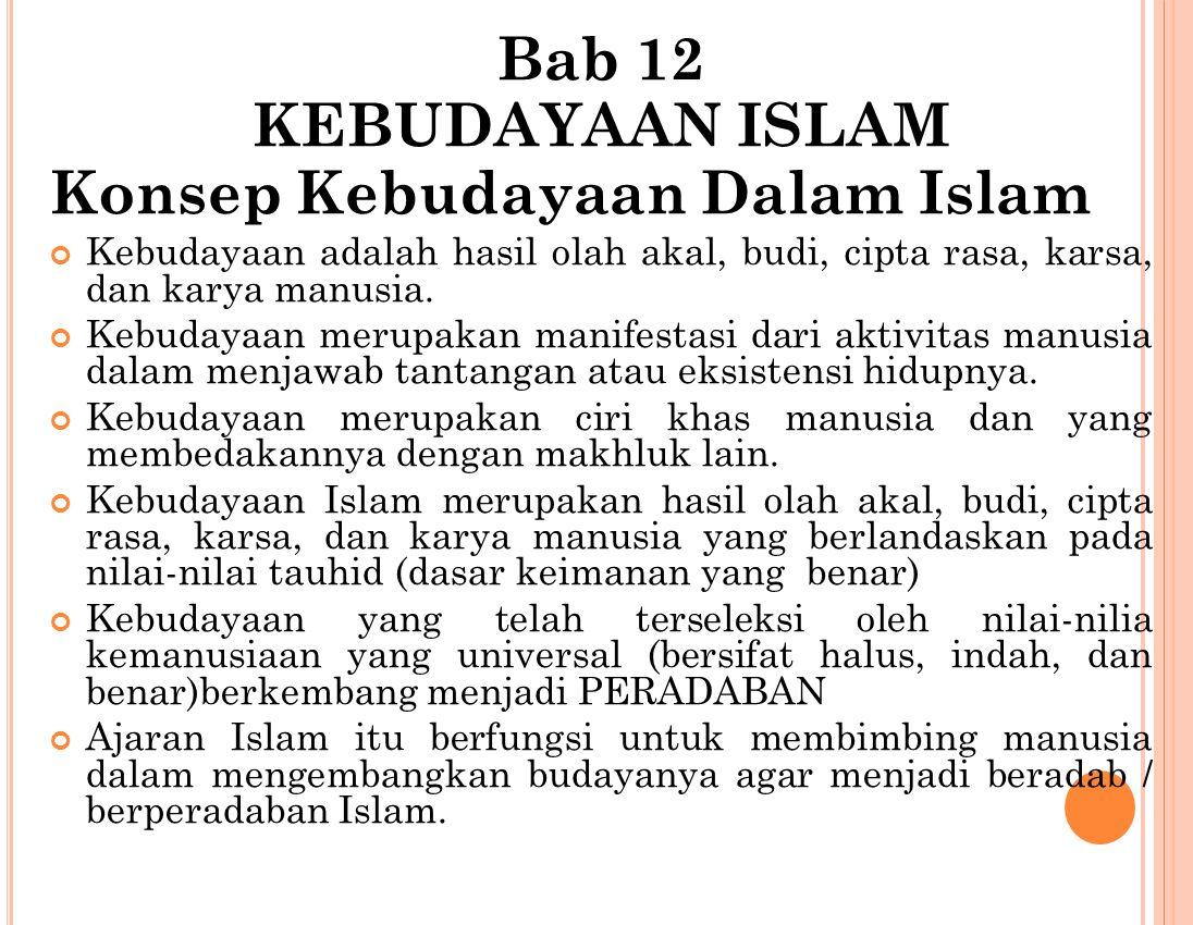 Bab 12 KEBUDAYAAN ISLAM Konsep Kebudayaan Dalam Islam Kebudayaan adalah hasil olah akal, budi, cipta rasa, karsa, dan karya manusia.