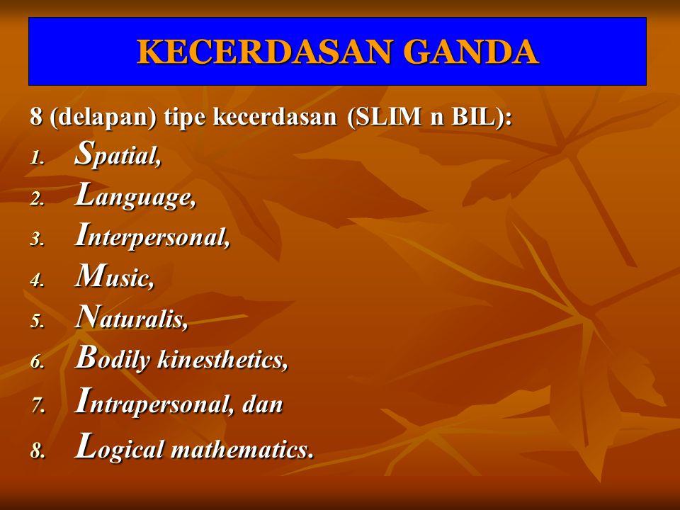 KECERDASAN GANDA 8 (delapan) tipe kecerdasan (SLIM n BIL): 1. S patial, 2. L anguage, 3. I nterpersonal, 4. M usic, 5. N aturalis, 6. B odily kinesthe