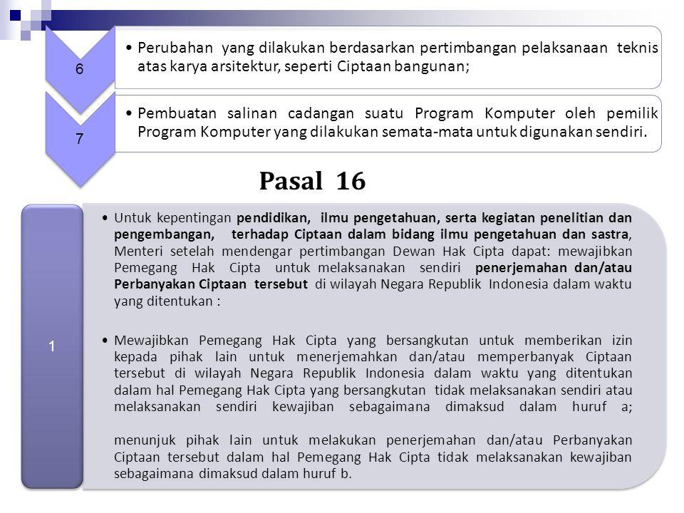 Fair Use di Indonesia Pasal 15 UUHC; Sulit menerapkan ukuran kuantitatif untuk menentukan pelanggaran HC  10%, 300 halaman, 8 bar, dsb. Sumber harus
