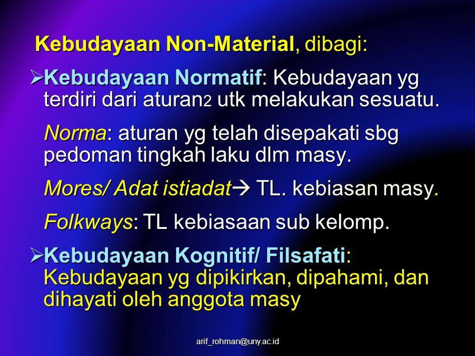 Kebudayaan Non-Material, dibagi: Kebudayaan Non-Material, dibagi:  Kebudayaan Normatif: Kebudayaan yg terdiri dari aturan 2 utk melakukan sesuatu.