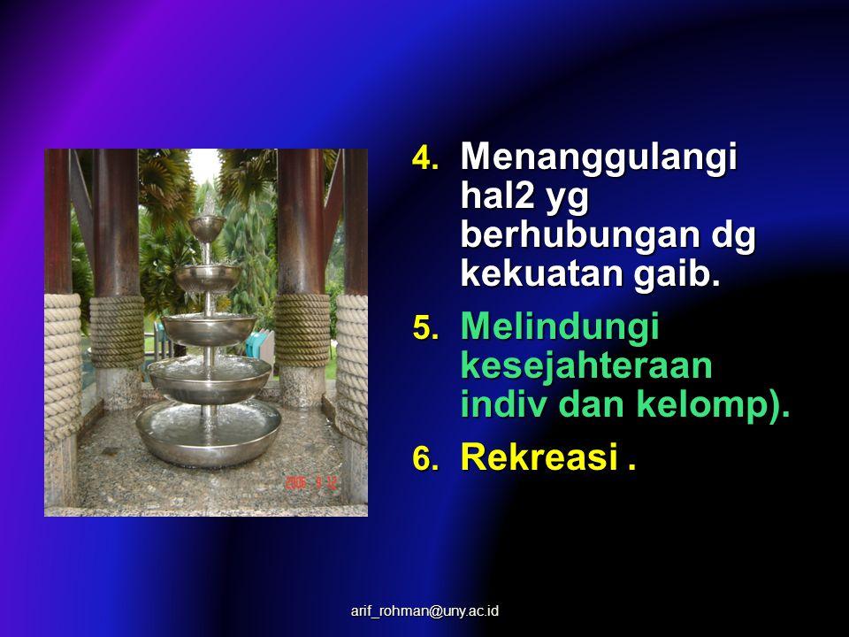4. Menanggulangi hal2 yg berhubungan dg kekuatan gaib. 5. Melindungi kesejahteraan indiv dan kelomp). 6. Rekreasi. arif_rohman@uny.ac.id