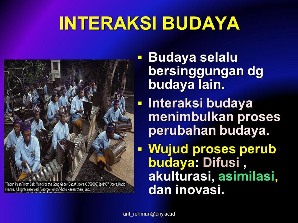  Budaya selalu bersinggungan dg budaya lain.  Interaksi budaya menimbulkan proses perubahan budaya.  Wujud proses perub budaya: Difusi, akulturasi,