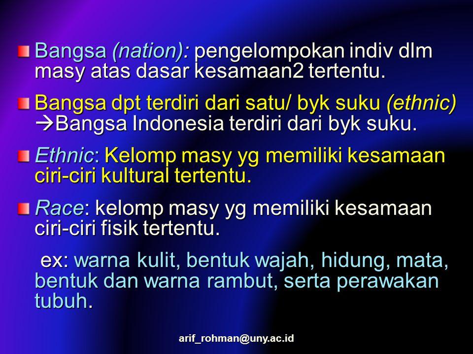 Bangsa (nation): pengelompokan indiv dlm masy atas dasar kesamaan2 tertentu. Bangsa dpt terdiri dari satu/ byk suku (ethnic)  Bangsa Indonesia terdir