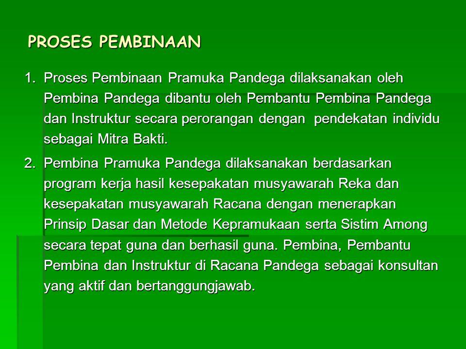 PROSES PEMBINAAN 1.Proses Pembinaan Pramuka Pandega dilaksanakan oleh Pembina Pandega dibantu oleh Pembantu Pembina Pandega dan Instruktur secara pero