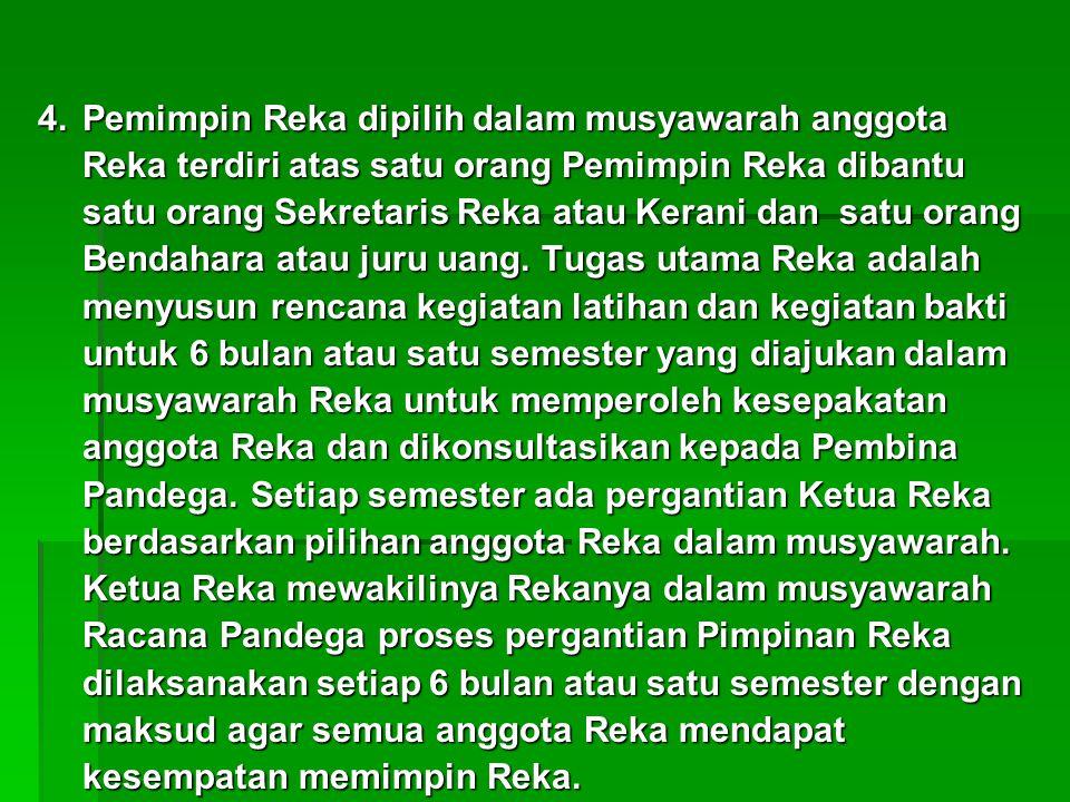 4.Pemimpin Reka dipilih dalam musyawarah anggota Reka terdiri atas satu orang Pemimpin Reka dibantu satu orang Sekretaris Reka atau Kerani dan satu or