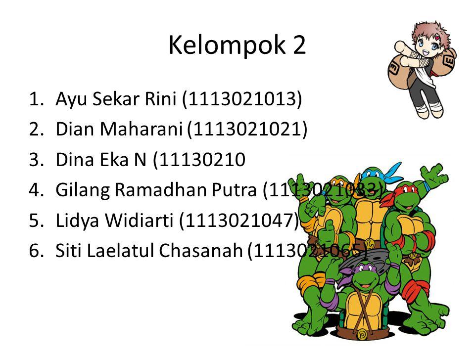 Kelompok 2 1.Ayu Sekar Rini (1113021013) 2.Dian Maharani (1113021021) 3.Dina Eka N (11130210 4.Gilang Ramadhan Putra (1113021033) 5.Lidya Widiarti (11