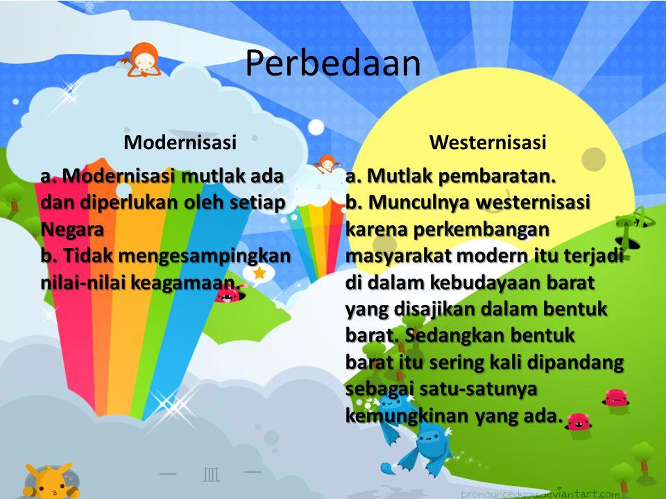 Perbedaan Modernisasi a. Modernisasi mutlak ada dan diperlukan oleh setiap Negara b. Tidak mengesampingkan nilai-nilai keagamaan. Westernisasi a. Mutl