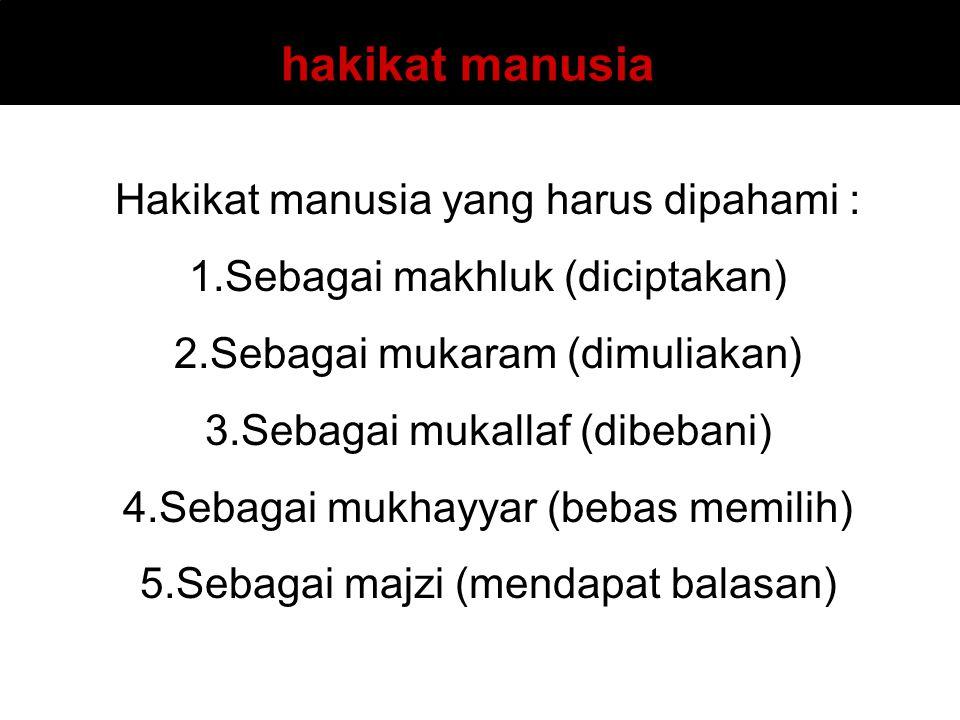 Hakikat manusia yang harus dipahami : 1.Sebagai makhluk (diciptakan) 2.Sebagai mukaram (dimuliakan) 3.Sebagai mukallaf (dibebani) 4.Sebagai mukhayyar