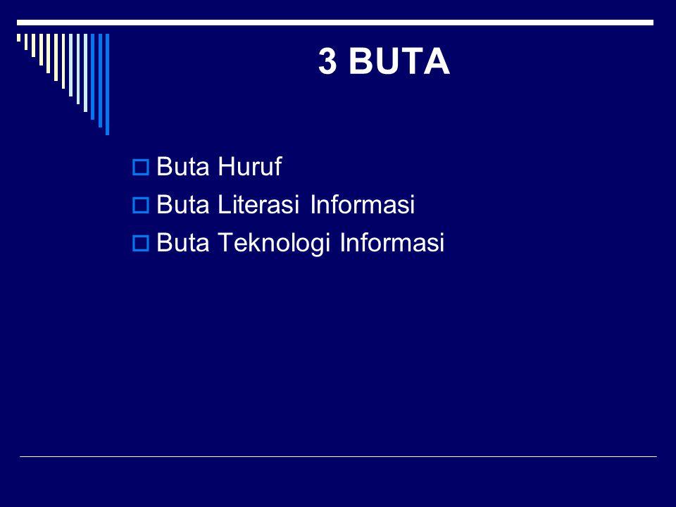 3 BUTA  Buta Huruf  Buta Literasi Informasi  Buta Teknologi Informasi