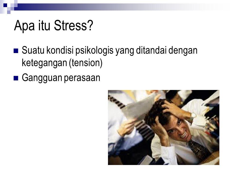 Apa itu Stress? Suatu kondisi psikologis yang ditandai dengan ketegangan (tension) Gangguan perasaan