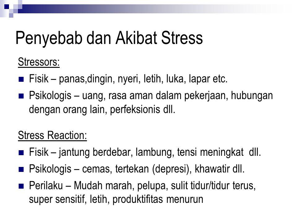 Penyebab dan Akibat Stress Stressors: Fisik – panas,dingin, nyeri, letih, luka, lapar etc. Psikologis – uang, rasa aman dalam pekerjaan, hubungan deng