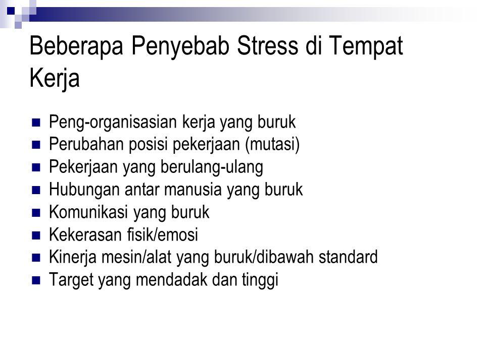Beberapa Penyebab Stress di Tempat Kerja Peng-organisasian kerja yang buruk Perubahan posisi pekerjaan (mutasi) Pekerjaan yang berulang-ulang Hubungan