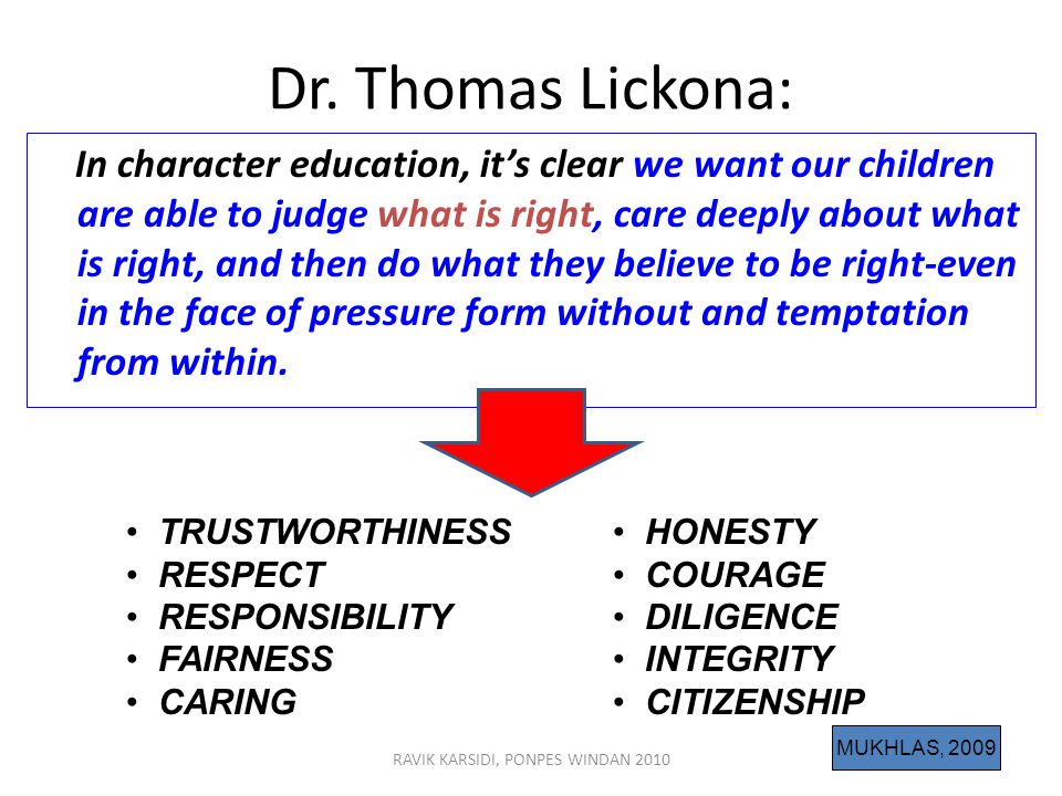 RAVIK KARSIDI, PONPES WINDAN 201010 Dr. Thomas Lickona: In character education, it's clear we want our children are able to judge what is right, care